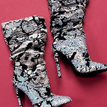 Sequin Slouchy Stiletto Boots | UrbanOG