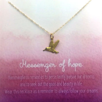 Messenger of Hope Necklace - Simply Charmed Line - Hummingbird Necklace - Mother's Day Gift
