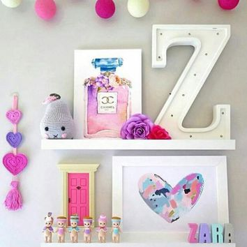 Novelty Wooden Letter Alphabet Led Lights Nursery Baby Sleep Night Light Fedding Lamp Children Bedroom Nordic Decor Light Up Toy