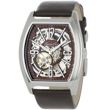 Kenneth Cole KC1774 Men's New York Classic Skeleton Dial Brown Leather Strap Automatic Watch