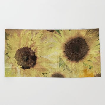 Wallflowers Beach Towel by Theresa Campbell D'August Art