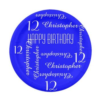 Royal Blue 12th Birthday Party Repeating Names Paper Plate
