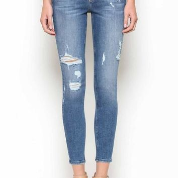 Mid Rise Distressed Denim by Hidden Jeans