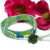 Double Leather Wrap Petite Chartreuse Beaded BOHO Superduo Bracelet