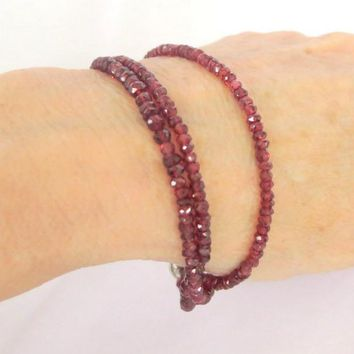 Three Strand Red Garnet Bracelet, gift for her
