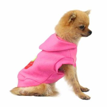 DCCKU7Q Hot!Cute Pet Dog Cat Strawberry Clothes Warm Winter Puppy Coat Hoodie Apparel tactical vest coats  products for animals