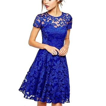 O-Neck Casual Women Floral Lace A-line Dresses Short Sleeve