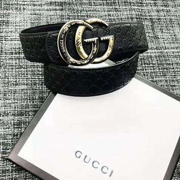 GUCCI New fashion letter buckle couple more letter leather belt Black