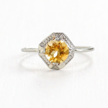 Antique 10k White Gold Citrine Ostby & Barton Ring - Art Deco 1920s Yellow Gemstone Hallmarked OB Stick Pin Conversion Fine Jewelry