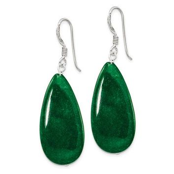 Sterling Silver Green Jade Dangle Earrings