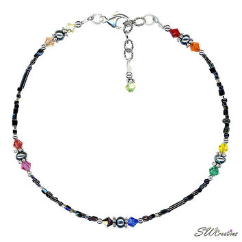 Black Rainbow Pearl Bali Beaded Anklet