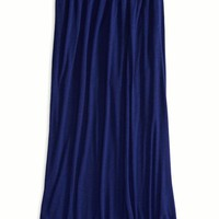 AEO 's Embroidered Yoke Maxi Skirt (Cobalt Blue)