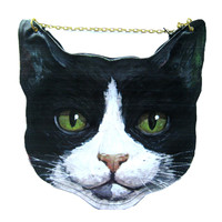 Kitty Cat Head Shaped Vinyl Animal Themed Cross Shoulder Bag in Black and White | DOTOLY