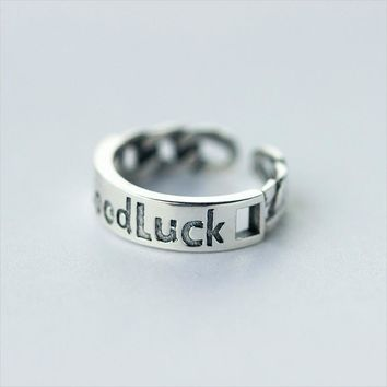 "925 Sterling Silver """"GOOD LUCK """" Ring  J1787  171204"