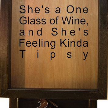 "Wooden Shadow Box Wine Cork Holder with Corkscrew 9""x15"" - She's A One Glass Of Wine"
