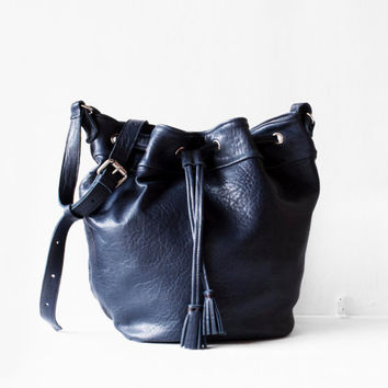 Navy Blue Leather Drawstring Bucket Bag