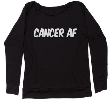 Cancer AF As F-ck Zodiac Slouchy Off Shoulder Oversized Sweatshirt
