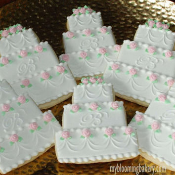 Monogram Wedding Cake Sugar Cookie -- 12 Rolled Decorated Sugar Cookies