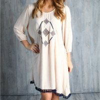 Umgee Embroidered Woven High Low Dress