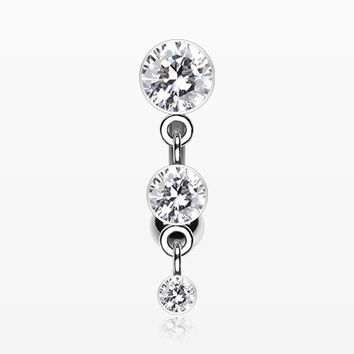 Triple Crystalline Reverse Belly Button Ring