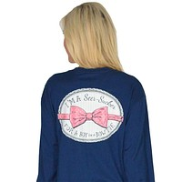 Seersucker for a Boy Long Sleeve Tee in Estate Blue by Lauren James - FINAL SALE