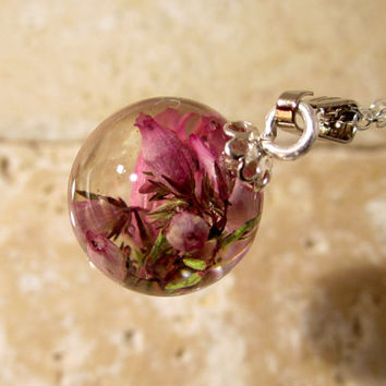Heather Flower Sphere Necklace, Froral pendant, plant jewelry, flower jewellery, nature, silver plated chain