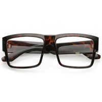 Oversize Horn Rimmed Wide Arms Clear Lens Square Eyeglasses 56mm
