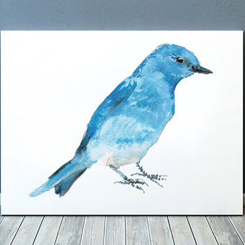 Mountain bluebird poster Nursery watercolor Cute bird art print ACW153