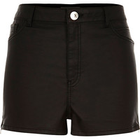 River Island Womens Black coated high waisted pin up shorts