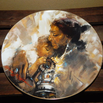 Mother's Day Gift - The Sun Kachina Don Ruffin Collector's Plate 1980 - Native American Mother holding her Child and a Kachina Doll - Rare