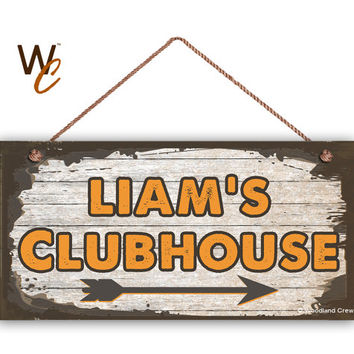 "Kid's Clubhouse Sign, Personalized Sign, Kid's Name, Kids Door Sign, Baby Nursery Wall Decor, 5"" x 10"" Sign, Brown & Orange, Made To Order"