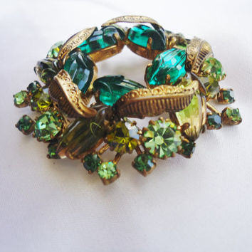 Vintage 1970's Costume Jewelry  Brooch West Germany Variations of Green