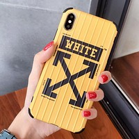 Off White Fashion New Letter Arrow Print Women Men Phone Case Protective Cover Yellow