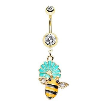 WILDKLASS in Bloom Bumble Bee Gem Belly Button Ring