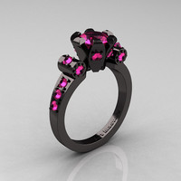 Modern Antique 14K Black Gold 1.0 Carat Pink Sapphire Flip Accent Bridal Solitaire Ring R227-14KBGPS