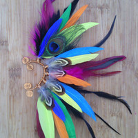 Feather Earcuff, Bird of Paradise, feather ear cuff,  feather, feather earring, free people, Native american style, Indian feather,colorful