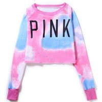 Fashion Women'S Pink Hoodie Cropped Hoodies Harajuku Love Pink Sweatshirt Femme Cropped Tops Sexy Hot Sell K-Pop Outwear H125Z30