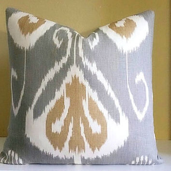 Bansuri Kravet Ikat Pillow Cover Gray - Pick Your Pillow Size - Fabric both sides or Solid back -  18x18, 20x20, 22x22 and 24x24