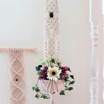 "White cotton macrame hanging planter, white macrame plant hanger, 34"" NATURAL COTTON, pot holder, pot hanger, plant holder, small, modern"
