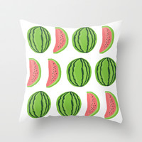 Watermelon Throw Pillow by kongkongpaper