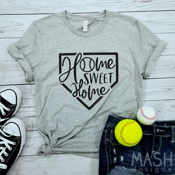 Home Sweet Home shirt, glitter baseball shirt, glitter softball shirt, glitter tball shirt, baseball gift, softball gift, game day shirt
