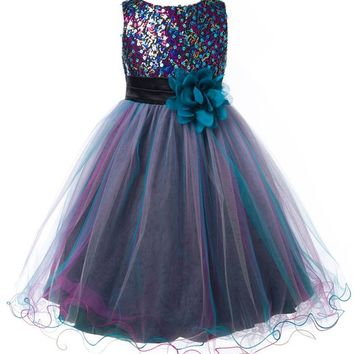 OLIVIA KOO Multi Sequined Bodice with Double Tulle Skirt Flower Girl Dress