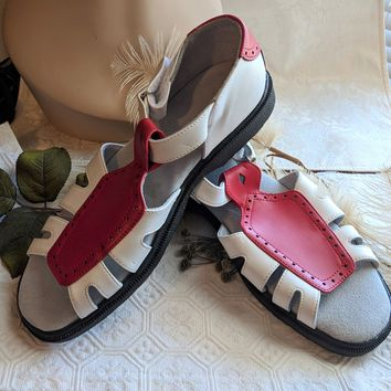 Sandbaggers Britt Red & White Leather Womens Golf Shoes Open Toe Size 9.5