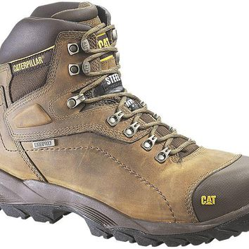 Cat P89940-8.5M Caterpillar Mens Hi-Waterproof Steel Toe Work Boot,Dark Beige,8.5