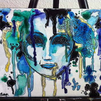 Drip and Swirl Face 8x10 Water Color Ink Canvas Painting