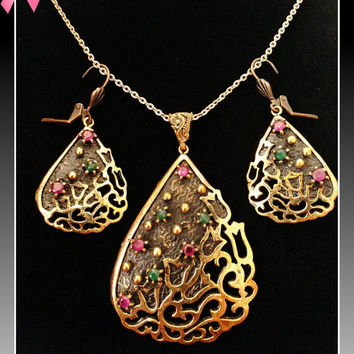 Turkish Ottoman Style Tulip Design Bronze Set Encrusted With Emerald & Ruby Stones