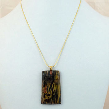 Colorful Petrified Wood Pendant Necklace on Gold Plated Sterling Silver Snake Chain -- Product P054