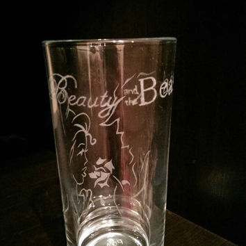 Hand Engraved Personalised Beauty and the Beast Glass