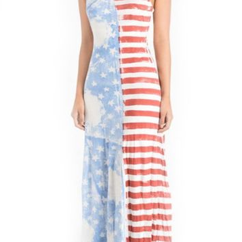 Vintage American Flag Printed Maxi Dress Made In USA