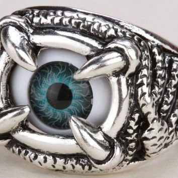 SHIPS FROM USA Eyeball claw snake stretch ring for women girls kids halloween jewelry gifts antique gold & silver color RD25